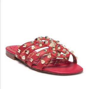 New Sam Edelman Red Sandal Slides Studded